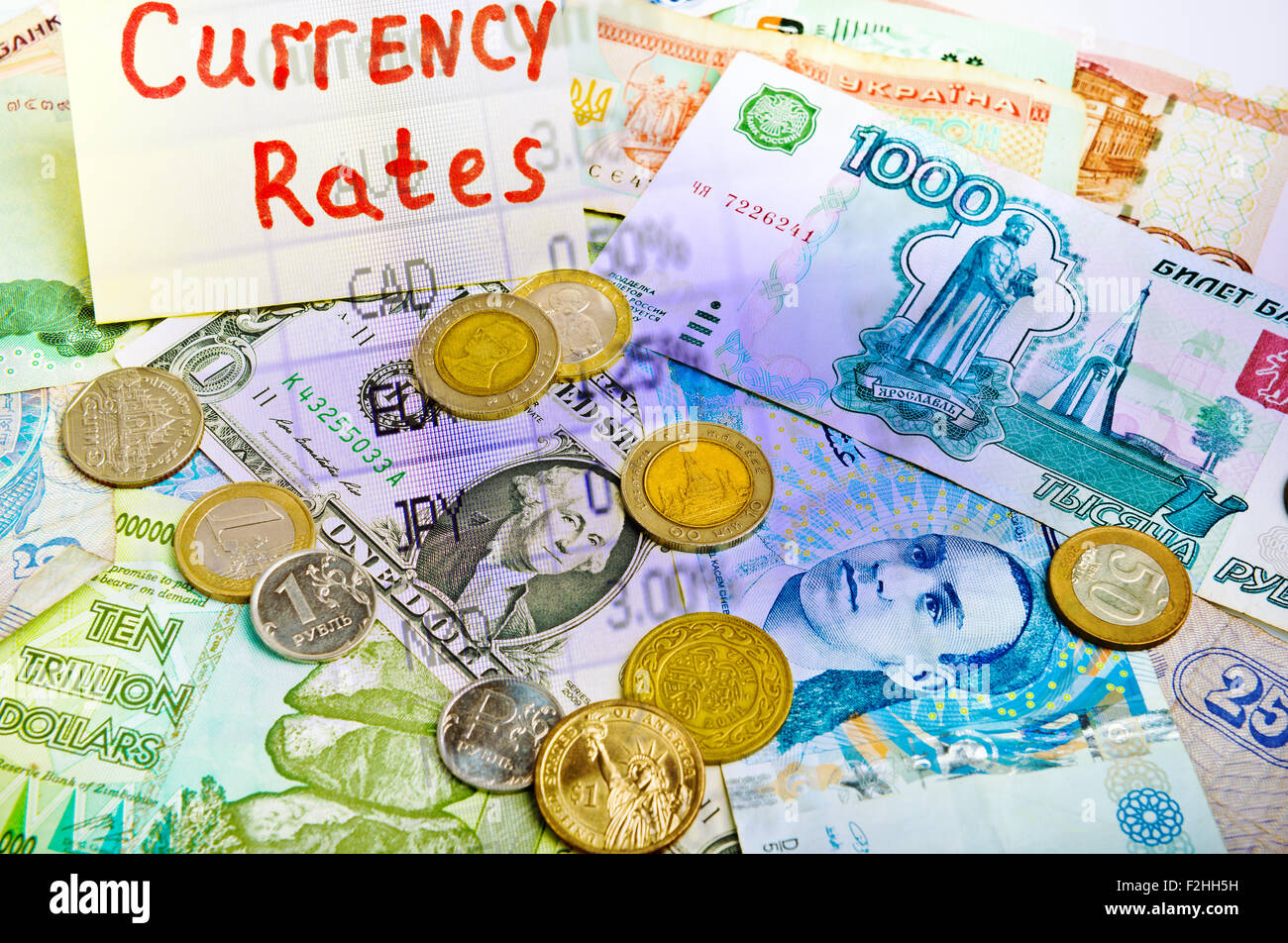 Collage aus verschiedenen Geld und Markt zahlen leuchtende Farbe Stockbild
