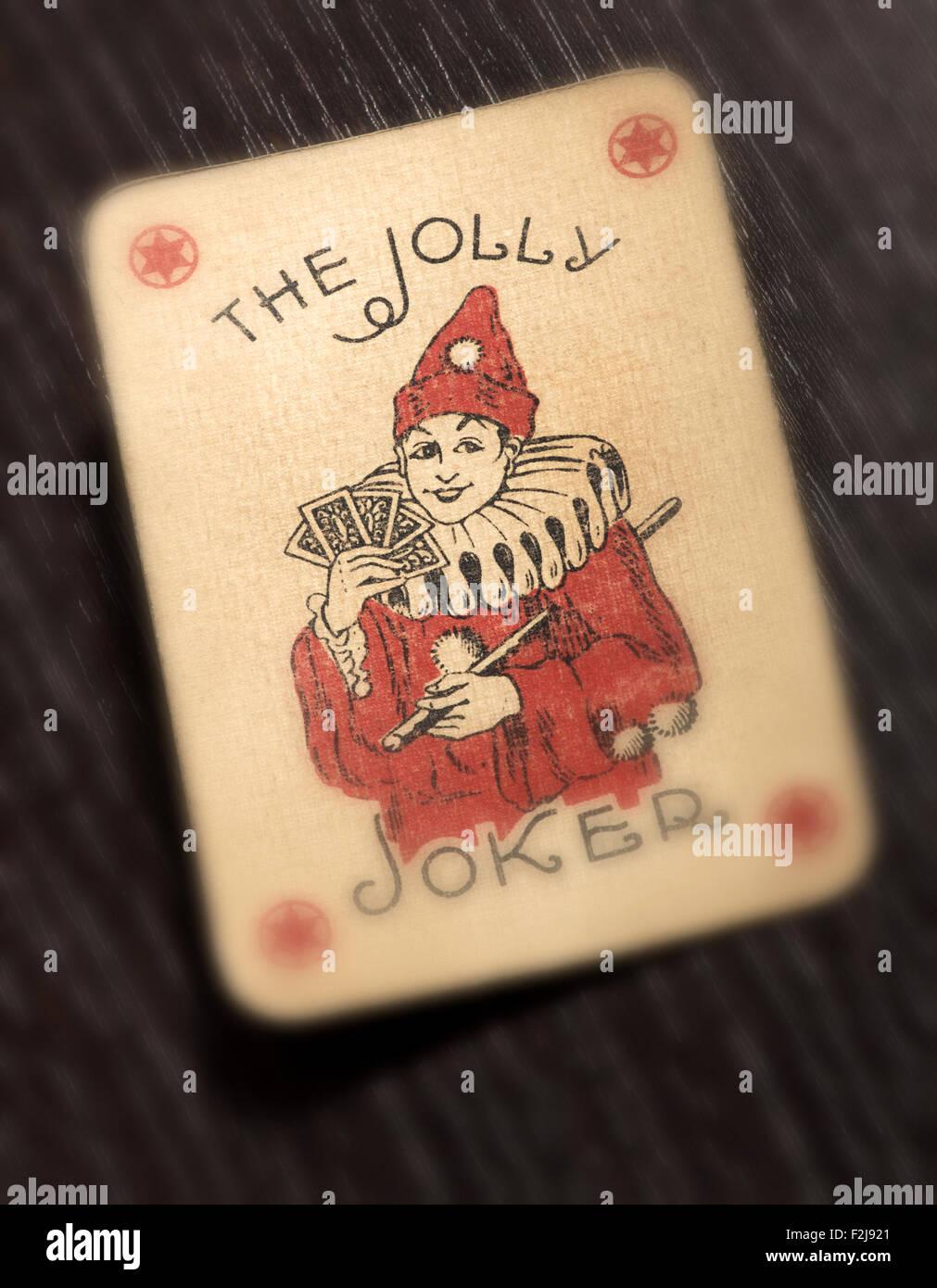Vintage Joker Spielkarte Stockbild