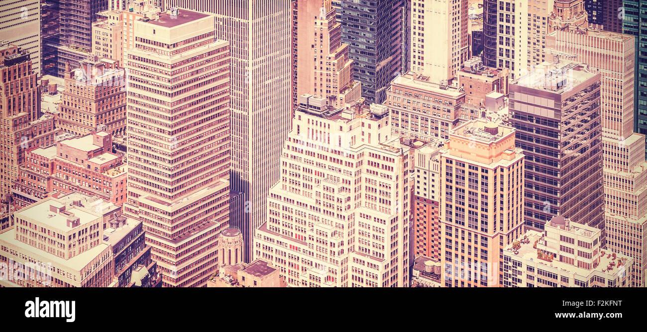 Retro Vintage getönten Panorama-Bild von Manhattan, New York, USA. Stockbild