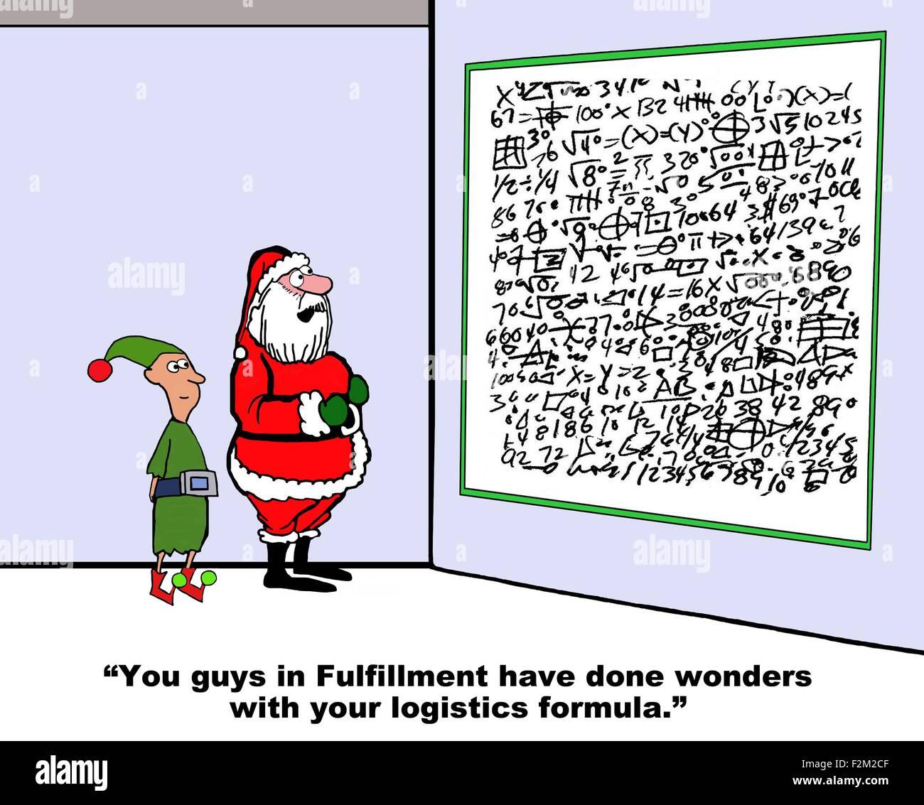 Weihnachten Cartoon von Santa und komplexe Formeln, um Elf, sagen ...