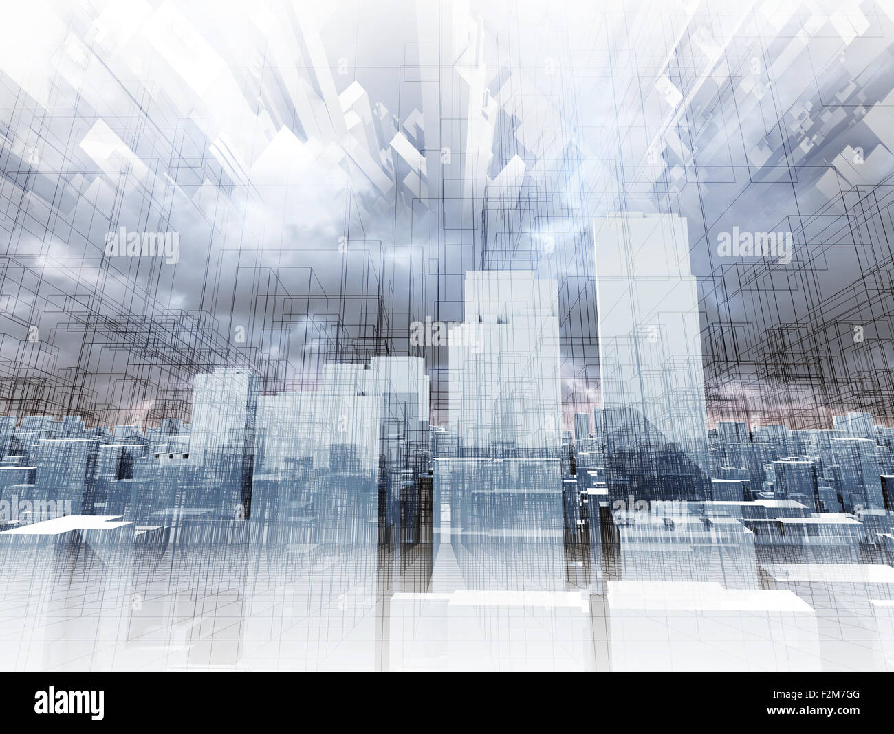 Abstract Futuristic 3d Cityscape Perspective Stockfotos & Abstract ...