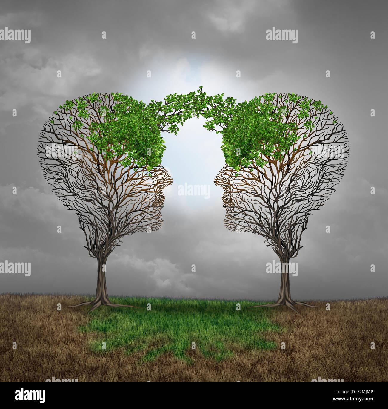 Gegenseitige Unterstützung und speichern einander als Nutzen für einander Geschäftskonzept als zwei kranke Bäume Stockfoto