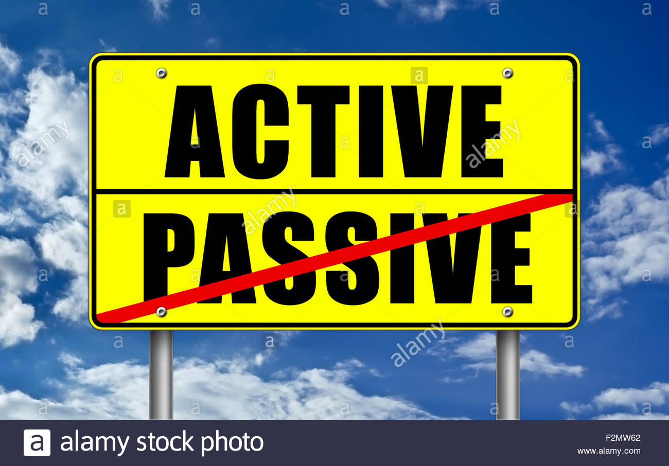 Aktiv versus passiv Stockbild