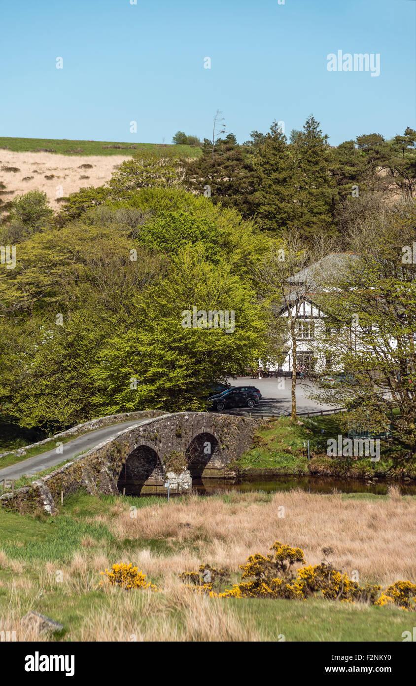 Zwei Brücken, eine isolierte Lage im Herzen des Dartmoor National Park in Devon, England Stockbild