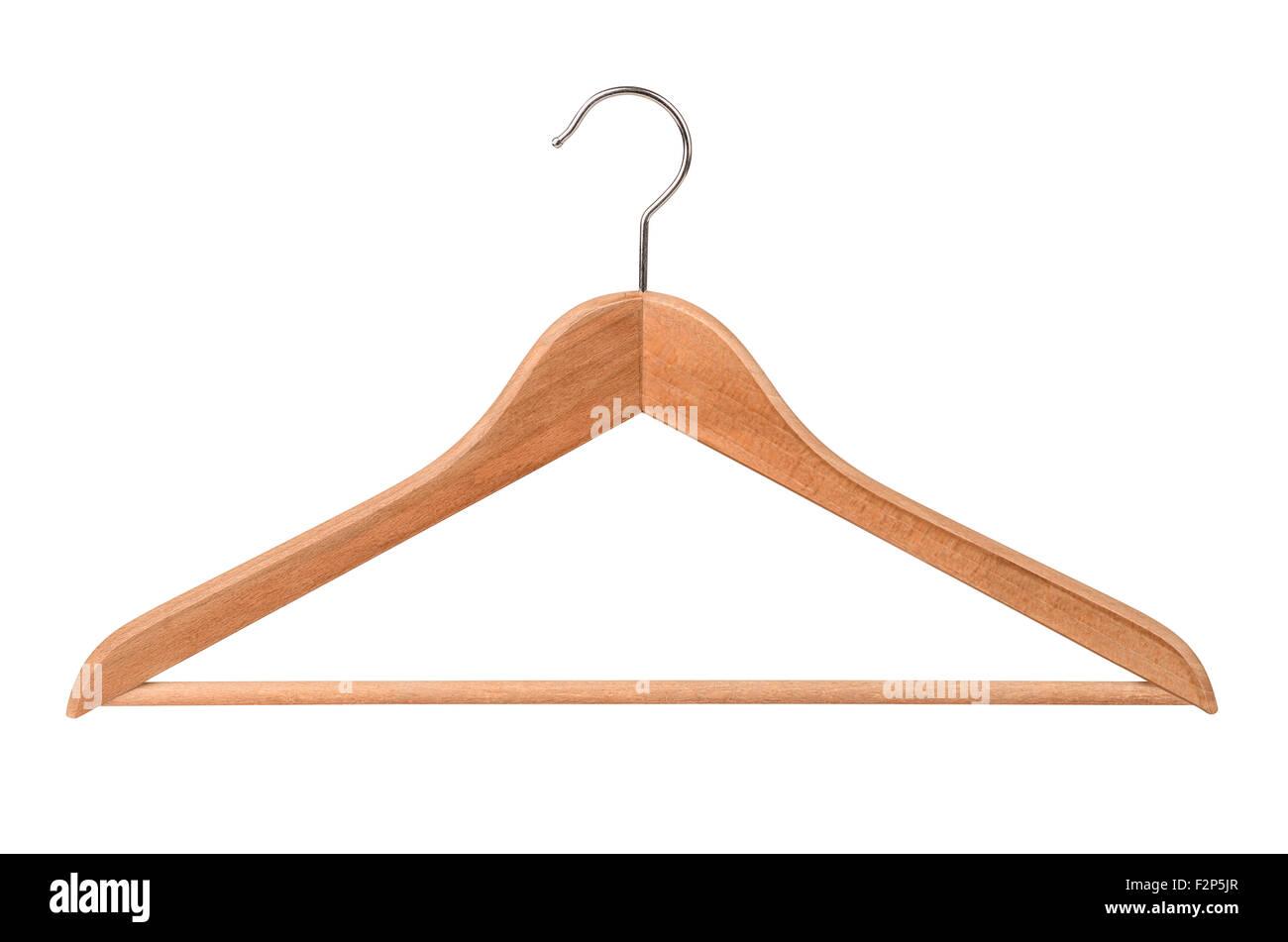 Hölzerne Kleiderbügel isoliert auf weiss Stockfoto