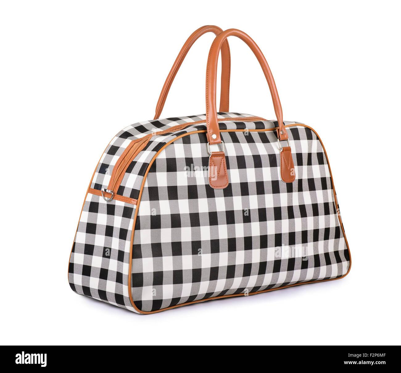 Reisen-Handtasche isoliert auf weiss Stockbild