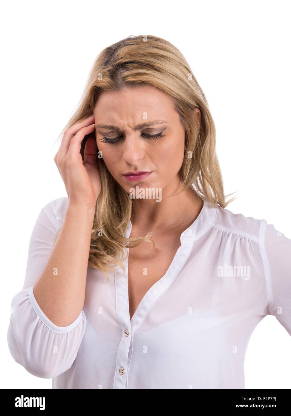 Kaukasische Frau leiden Kopfschmerzen Stockbild