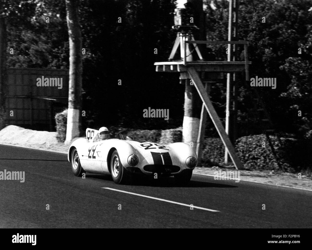 Briggs Cunningham, Sherwood Johnston Cunningham C-6R in Le Mans 1955 Stockbild