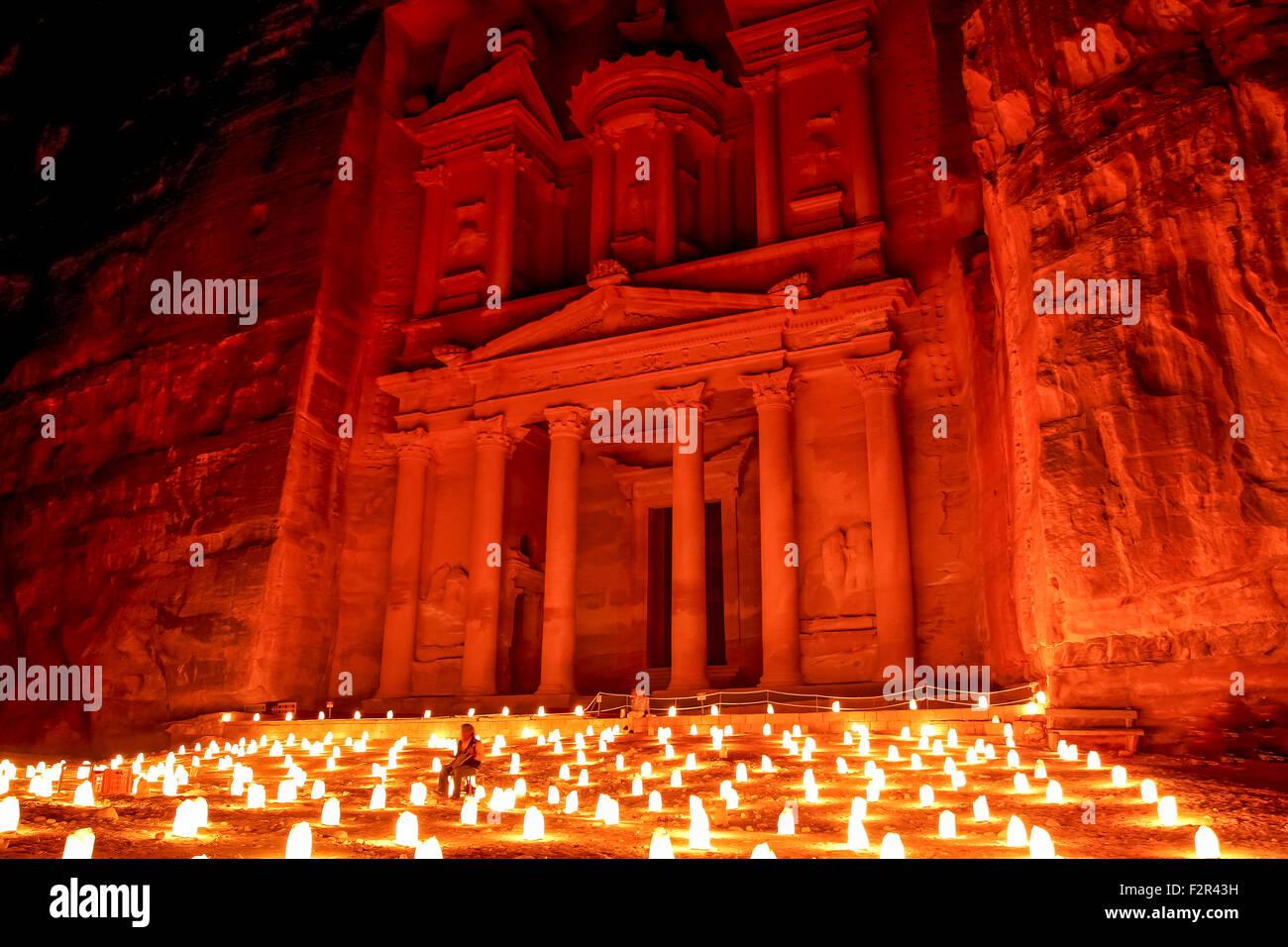 Petra bei Nacht Stockbild