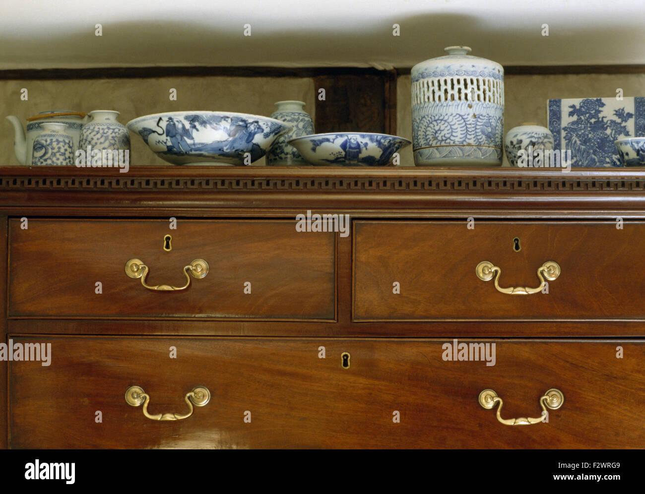 Nahaufnahme Der Blaue Weisse Chinesische Keramik Auf Eine Antike