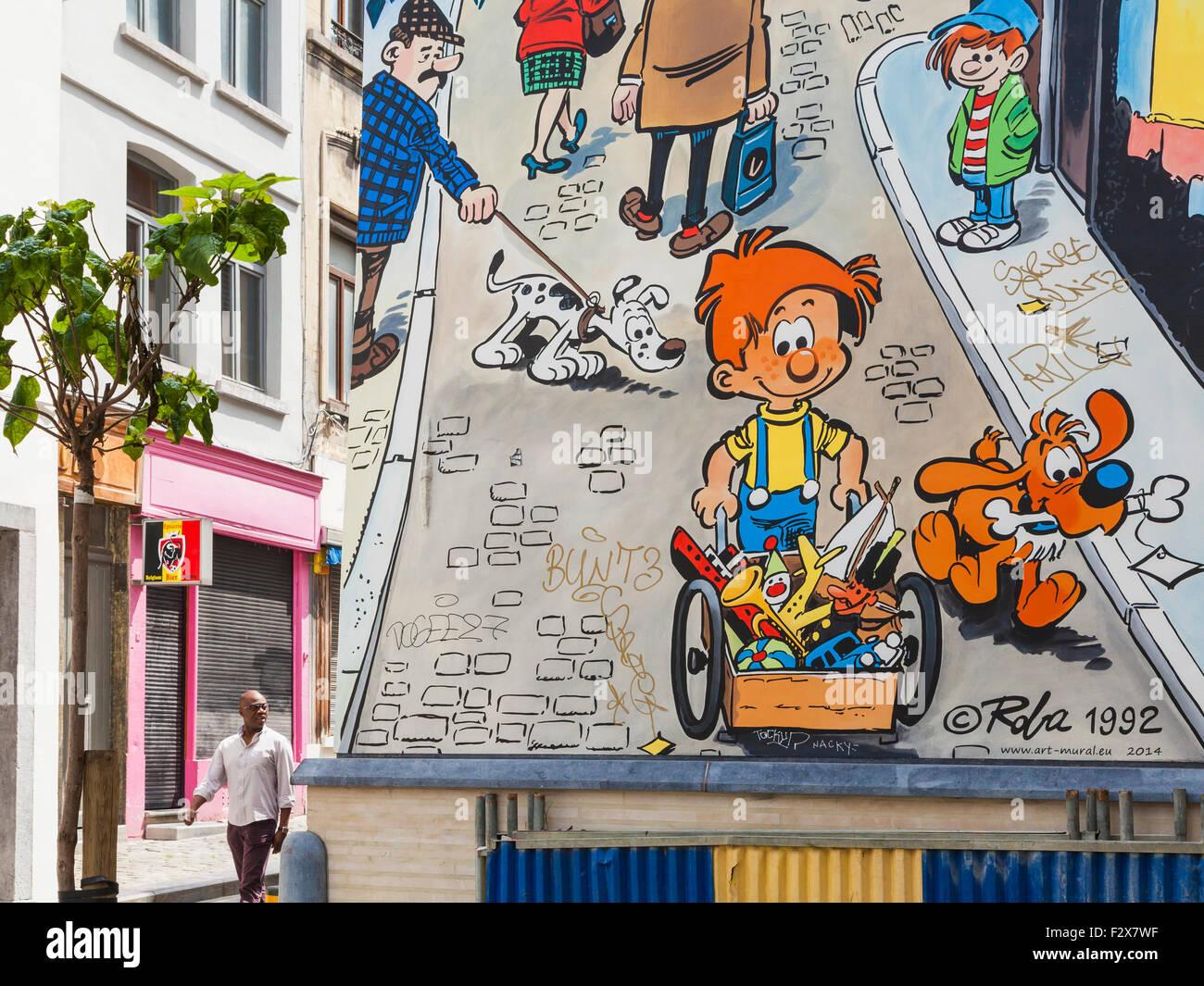 Belgien, Brüssel, Fassade des Hauses mit Comic-Strip von Jean Roba Stockbild
