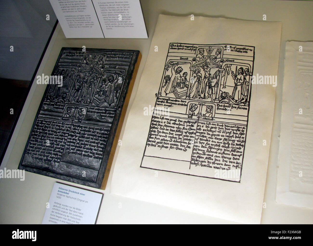 Historisches Buchdruck Beispiel - Deutsches Technikmuseum Berlin-Kreuzberg. Stockbild