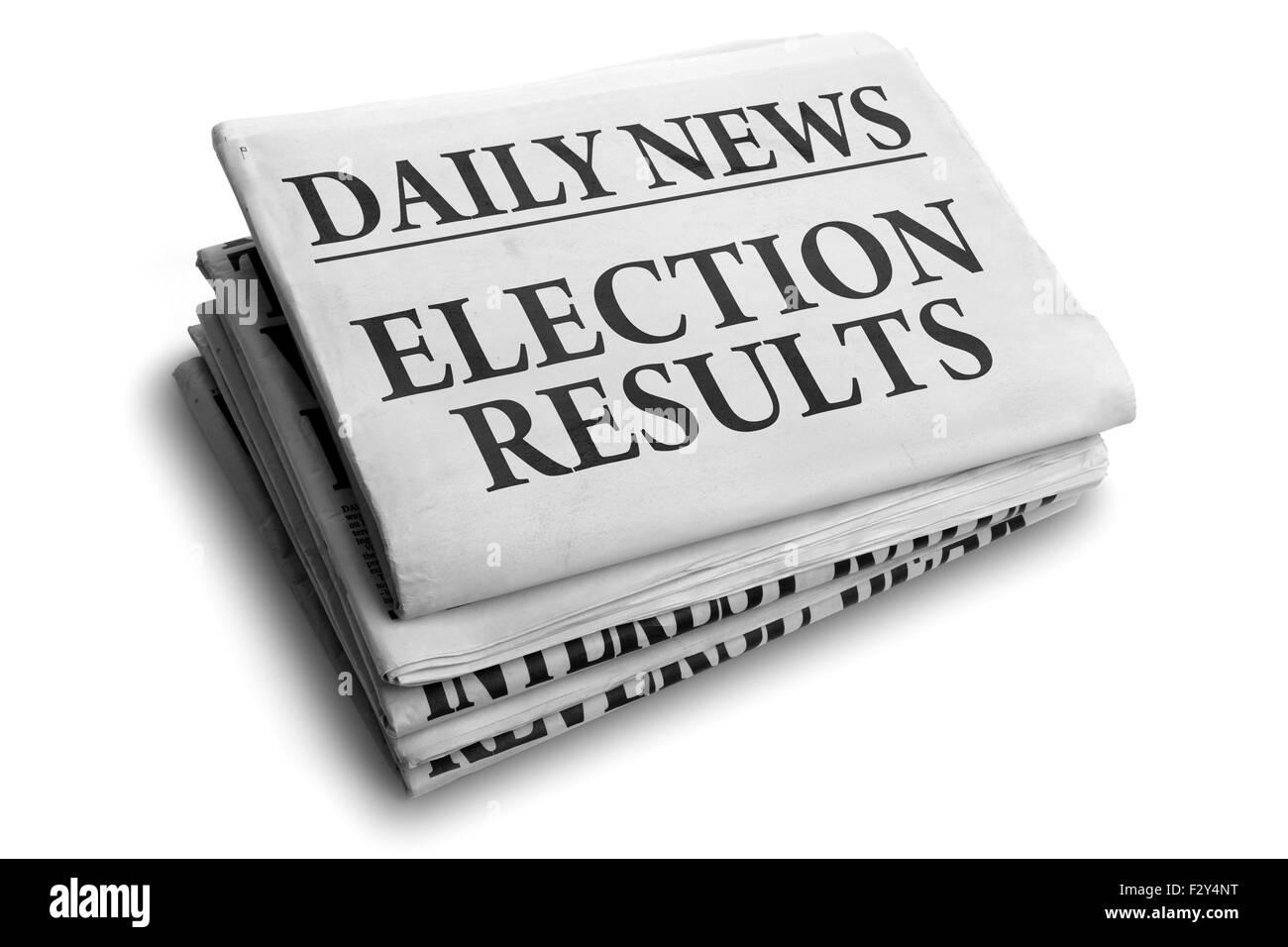 Wahl-Ergebnisse täglich Schlagzeile Stockbild