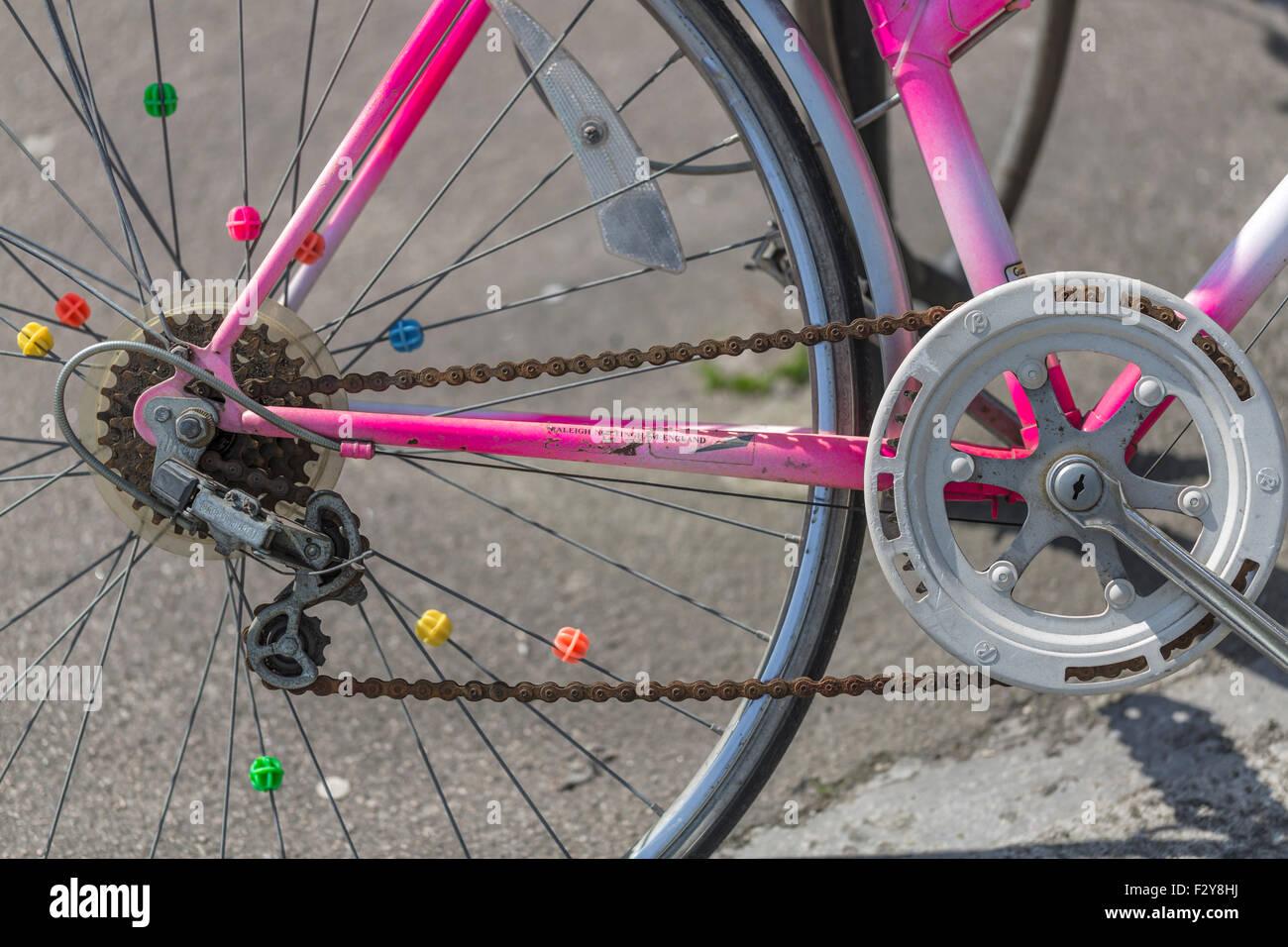 Detail von einem alten rostigen Fahrrad Stockfoto