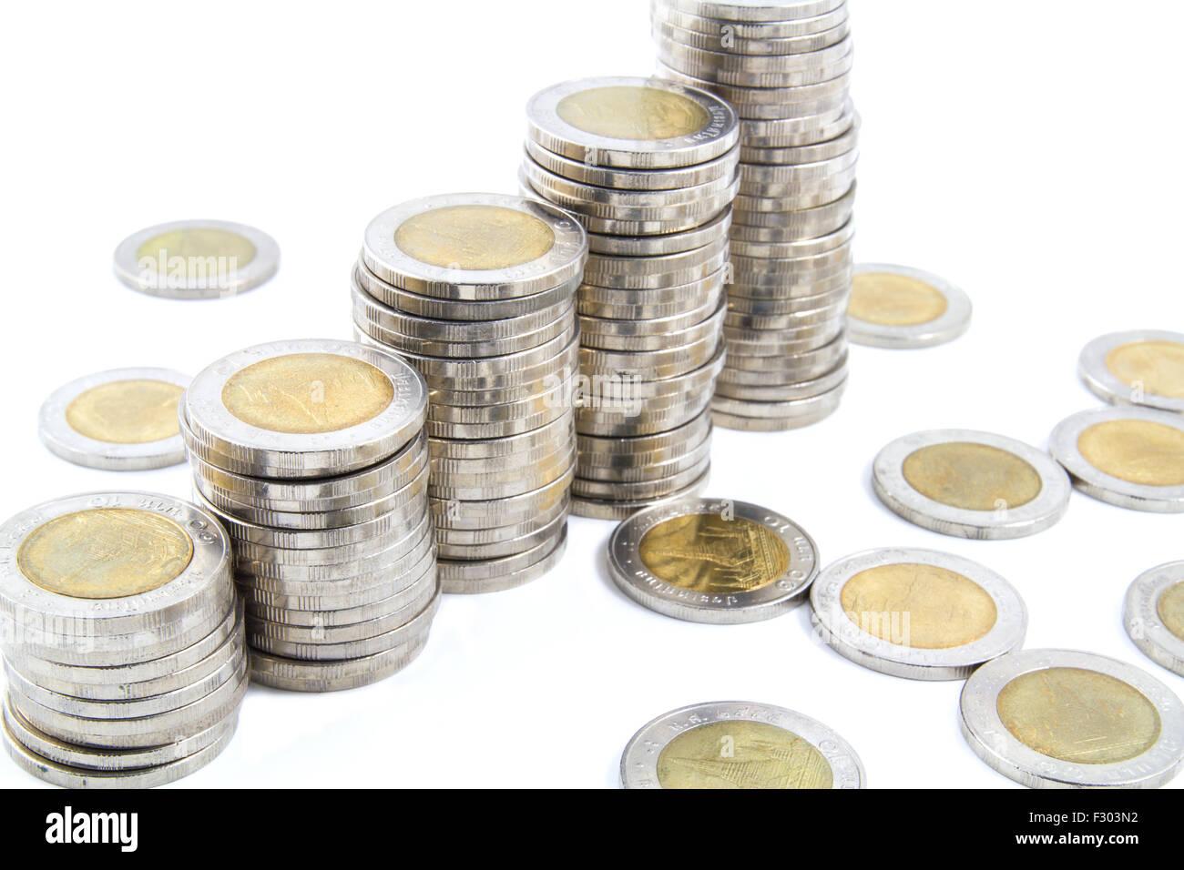 Thailand 10 Baht Münzen Auf Weißem Hintergrund Stockfoto Bild