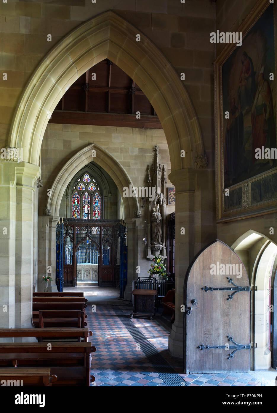 Ramsgate, St Augustine römisch-katholische Kirche, Kent. Interieur von a. Pugin im neugotischen Stil Stockbild