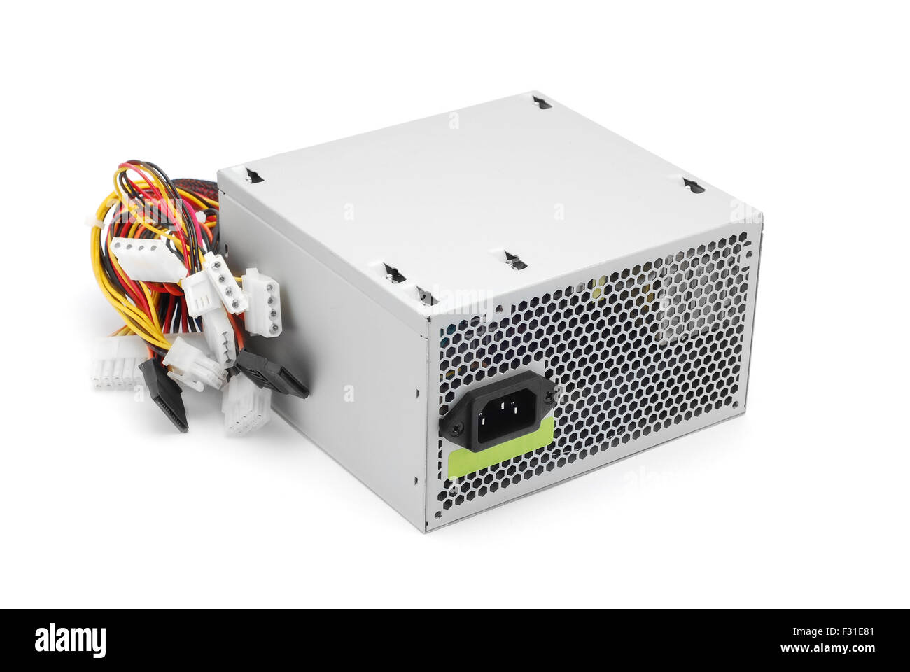 Computer-Netzteil auf weiß Stockbild