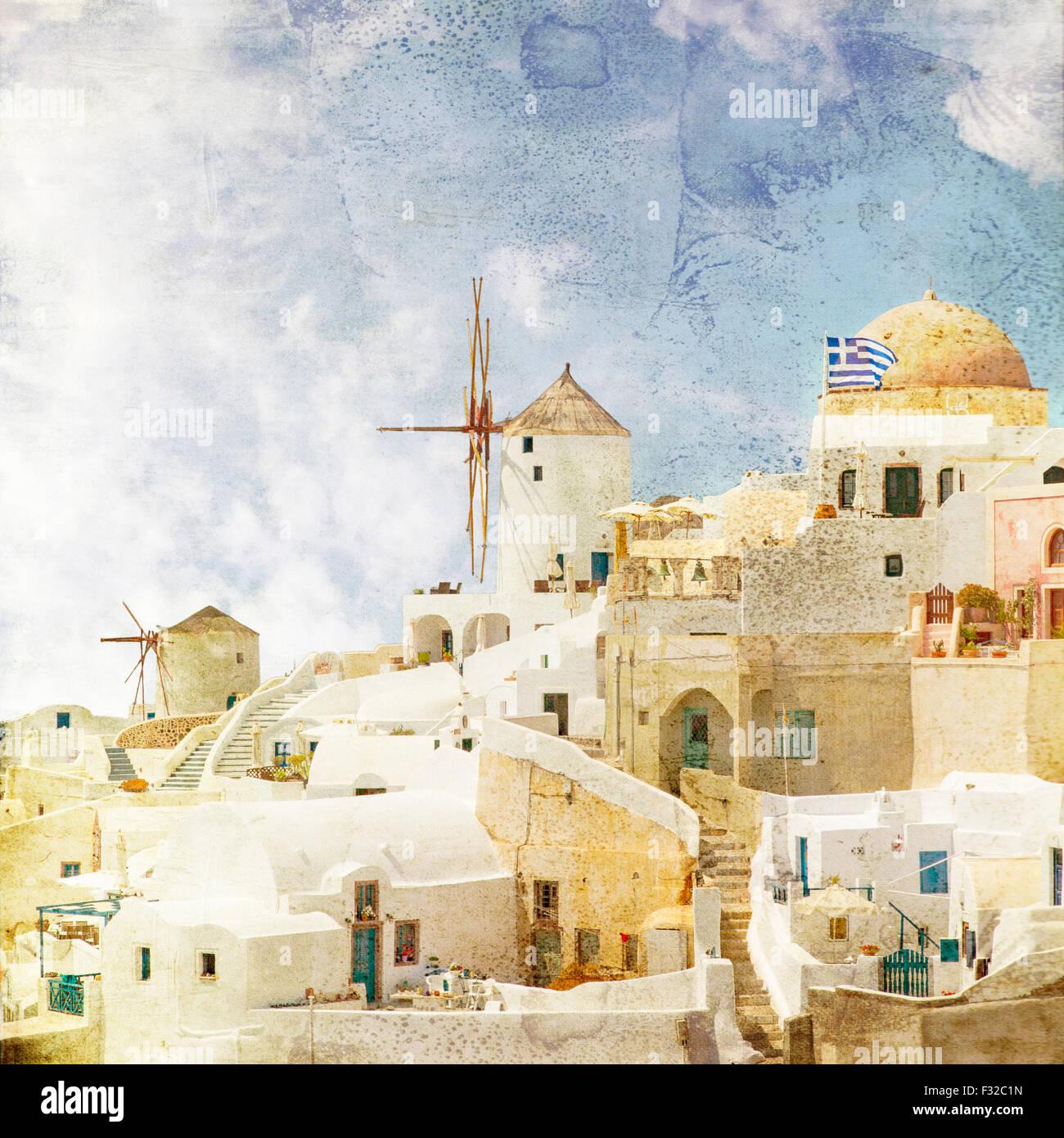 Bild der berühmten Windmühlen in Oia. Santorini, Griechenland. Vinatge gestylt. Stockbild