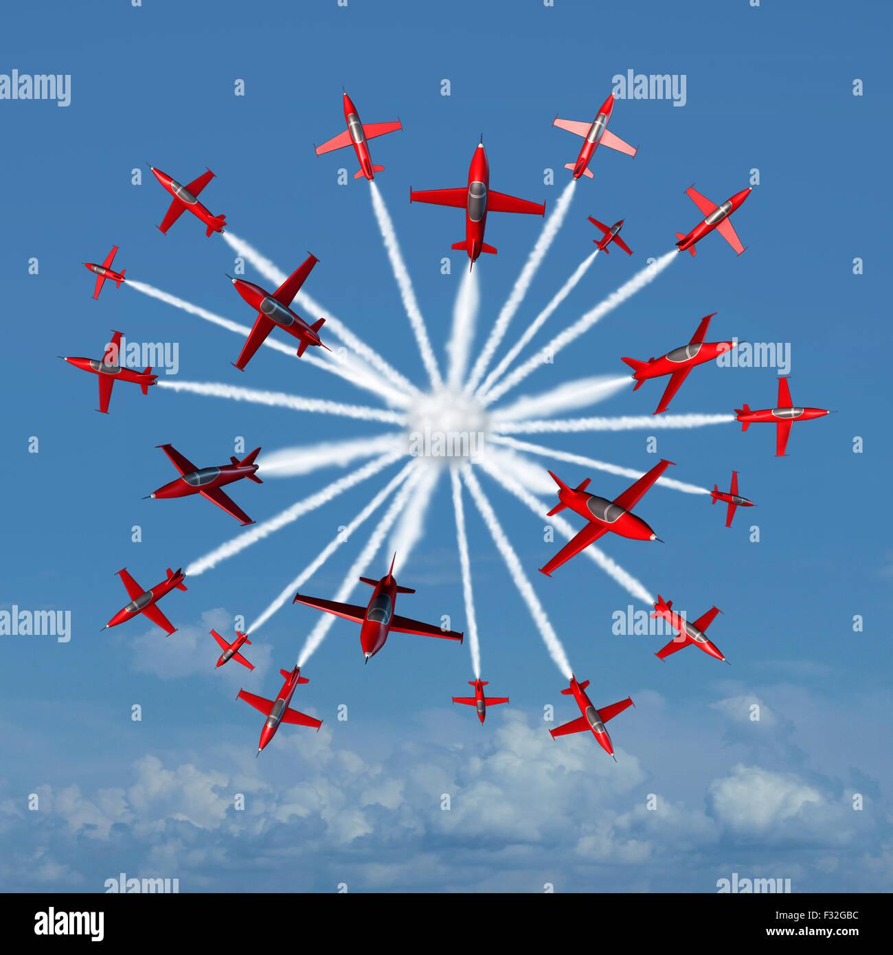 Global marketing-Konzept als eine koordinierte Gruppe von akrobatische Flugzeuge strahlenförmig von einem Mittelpunkt Stockbild