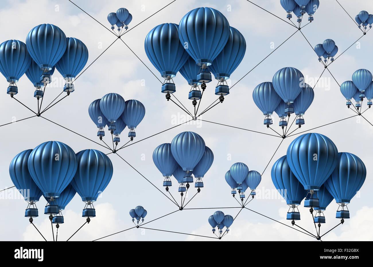 Netzwerk-Verbindung Gruppenkonzept und social-Media-Technologie-Symbol als eine organisierte Unternehmensstruktur Stockbild