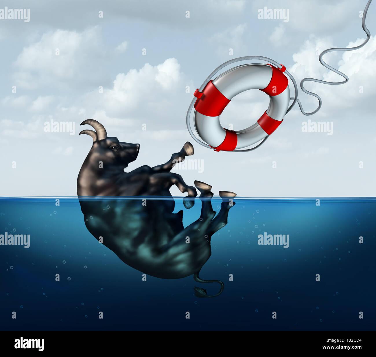 Die Bull Markt Geschäftskonzept oder Geldanlage Sicherheit Metapher speichern als ein Stier mit ein Lebensretter Stockfoto