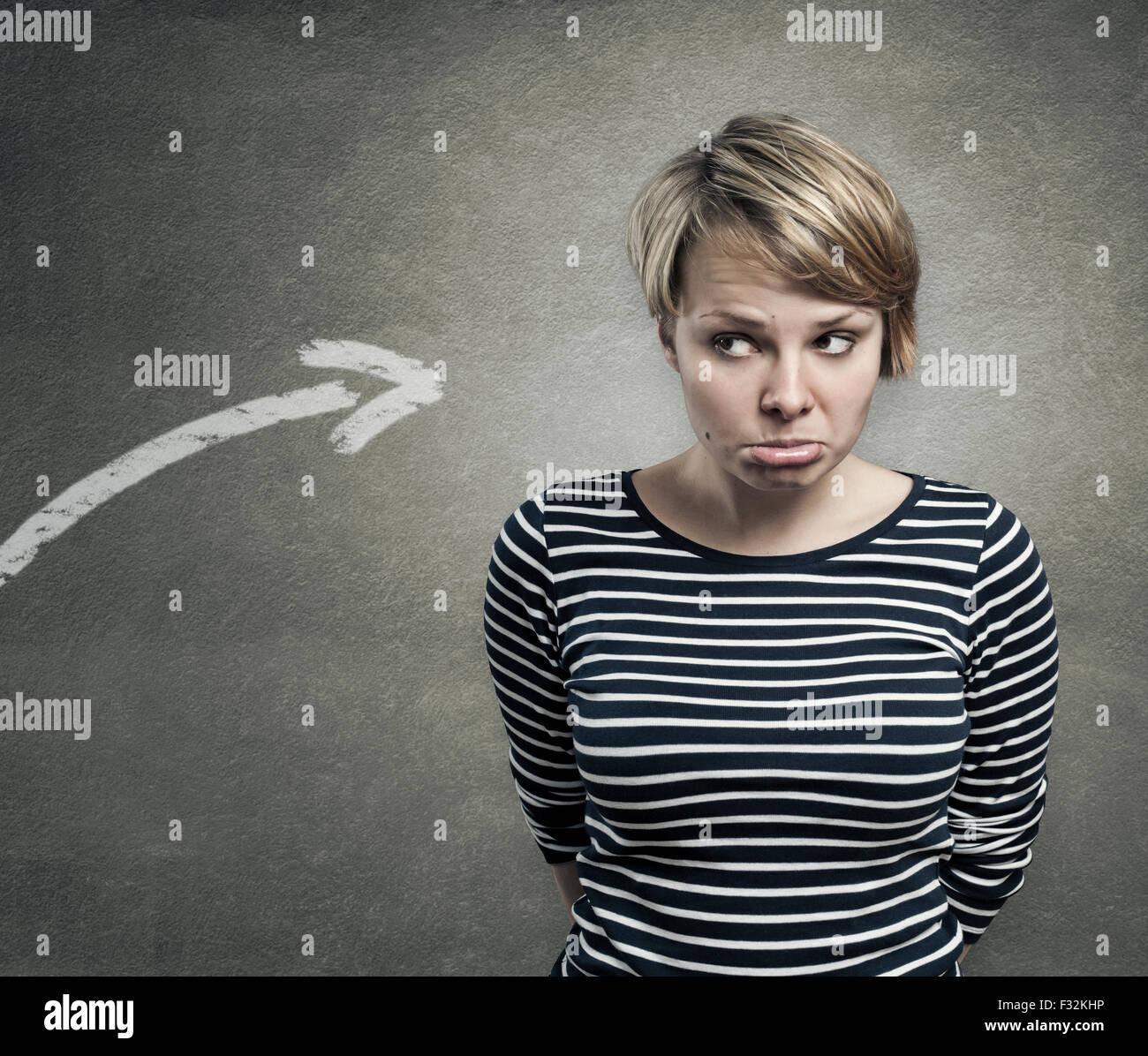 Konzept der Schuldige, verwirrt, unsicher Stockbild