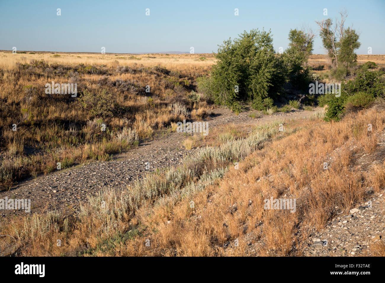Arco, Idaho - The Lost River, was trocken ist, wenn das Wasser für die Bewässerung stromaufwärts Stockbild