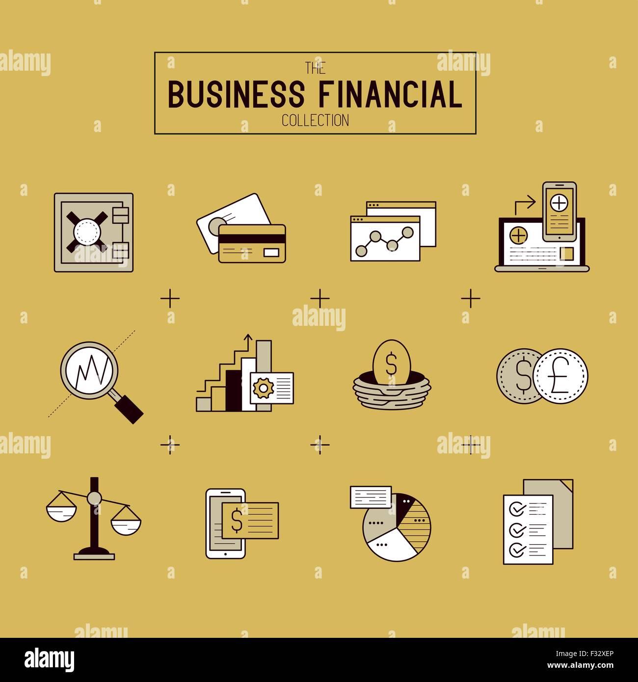 Business Financial Icon Set. Eine Sammlung von gold finanzielle Symbole darunter Marktinstrumente, Balkendiagramme Stock Vektor