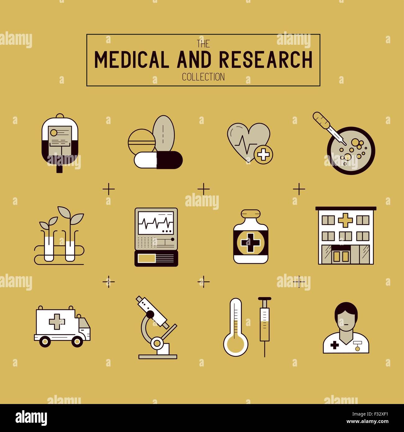 Medizinische Forschung -Icon-Set. Eine Sammlung von gold medizinische Symbole, einschließlich Ausrüstung, Stockbild