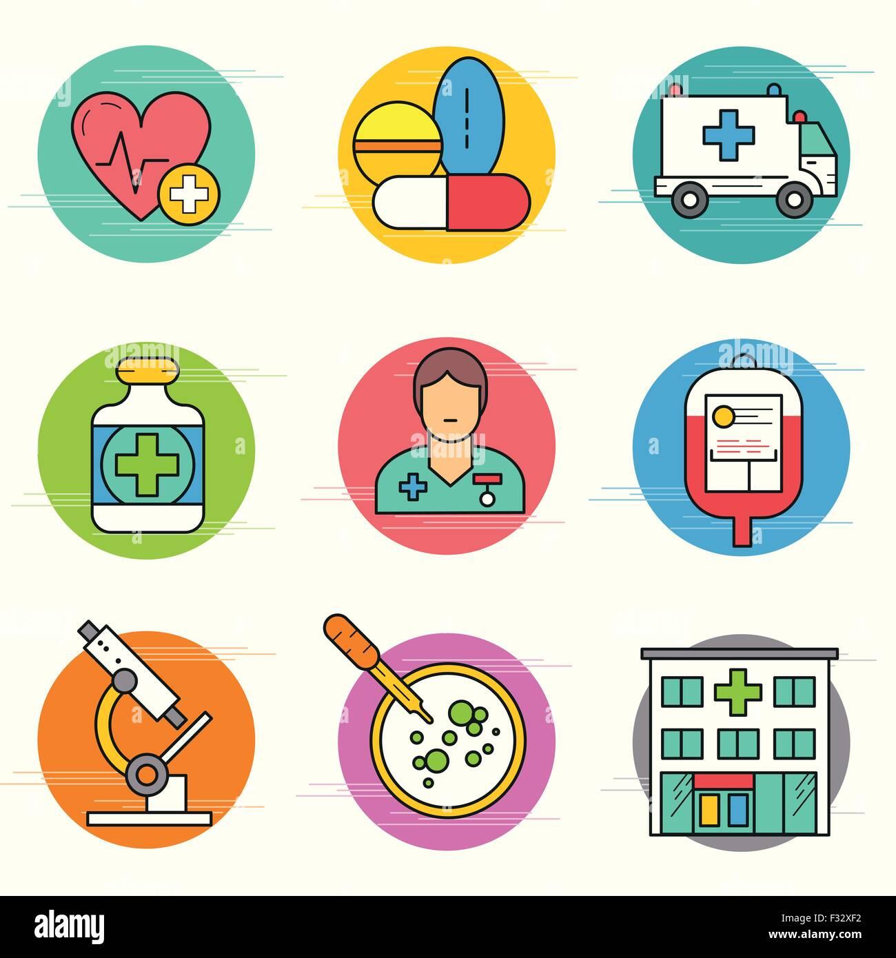 Medizinische Forschung -Icon-Set. Eine Sammlung von medizinischen Symbole einschließlich, Ausrüstung, Stockbild
