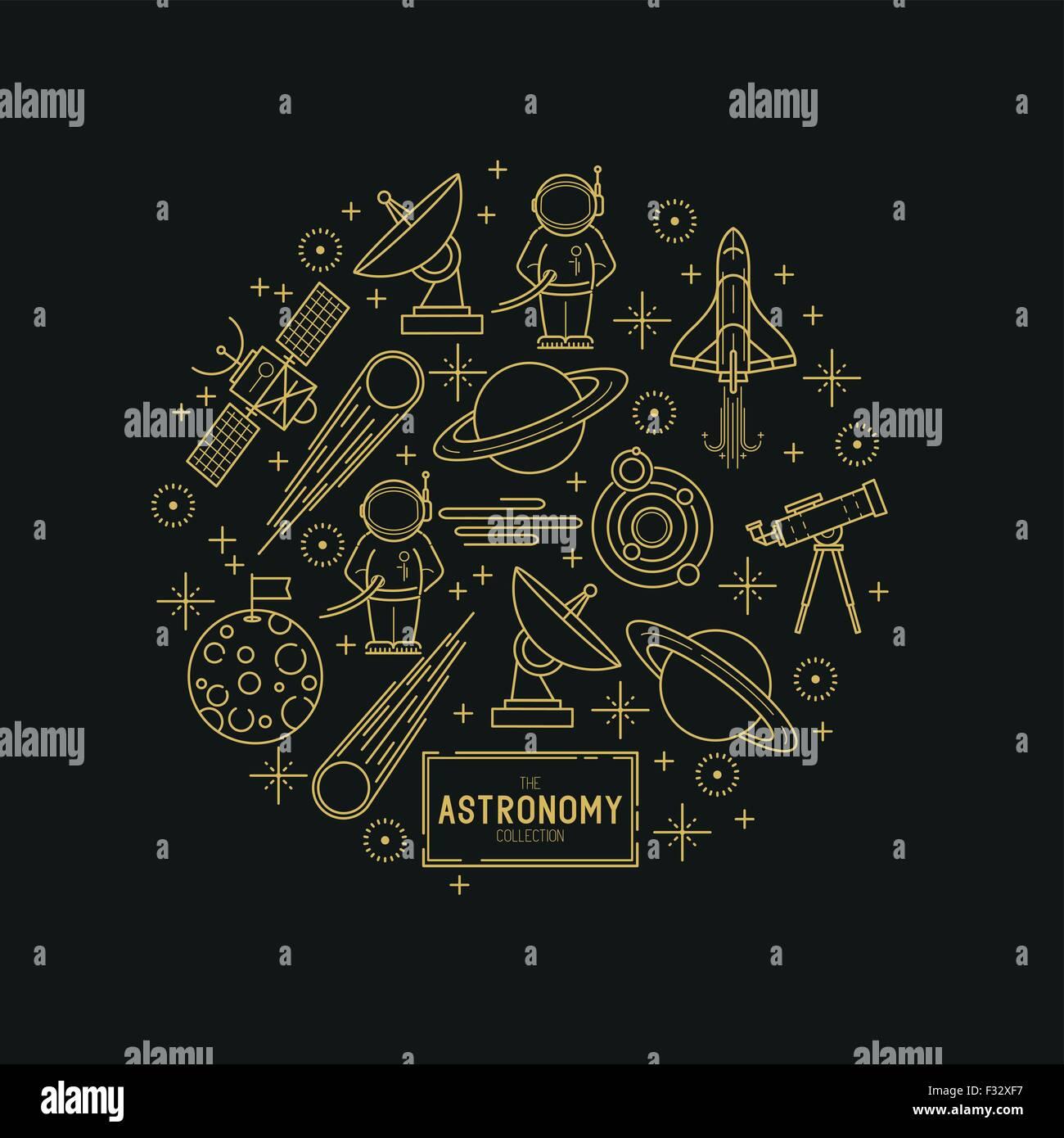 Astronomie-Gold Vektor-Icon-Set. Eine Auflistung der Raum unter dem Motto Linie Symbole wie Planeten, Rakete, Raumfahrer Stockbild