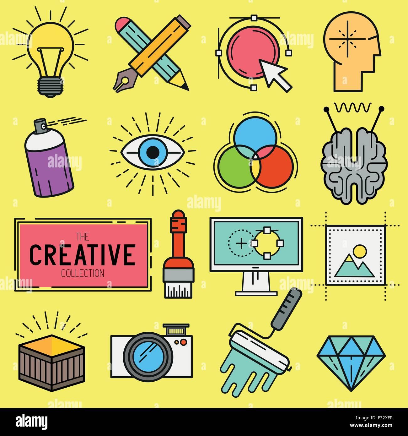 Kreative Vektor Icon-Set. Eine Auflistung der Themen Linie Designikonen wie Malwerkzeuge, digitales Design und kreative Stockbild