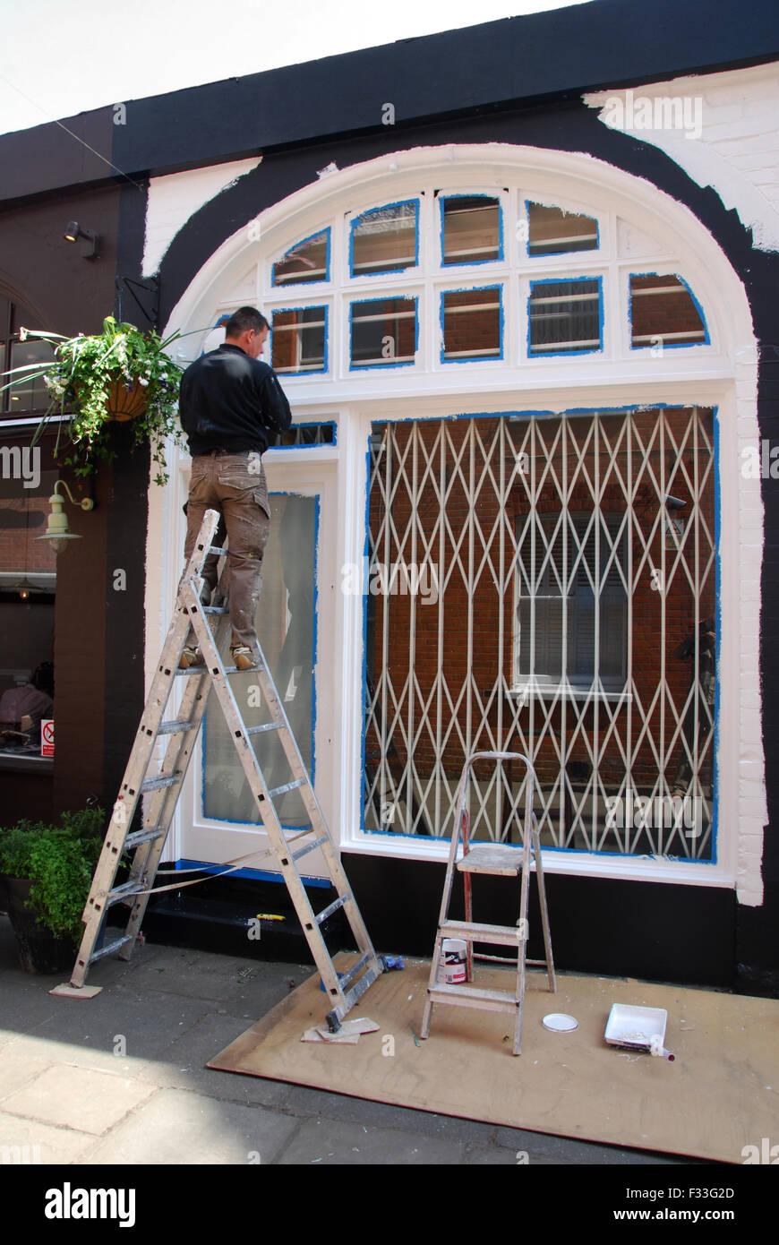 Maler Malerarbeiten Fassade Eines Hauses Hampstead London Uk