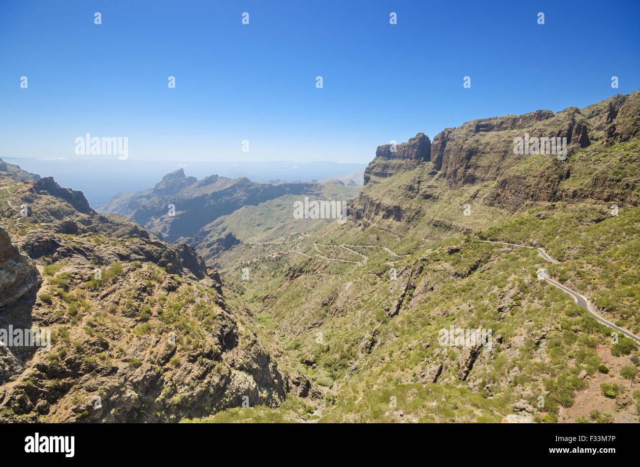Panoramablick von Masca Schlucht auf Teneriffa, Kanarische Inseln, Spanien. Stockbild