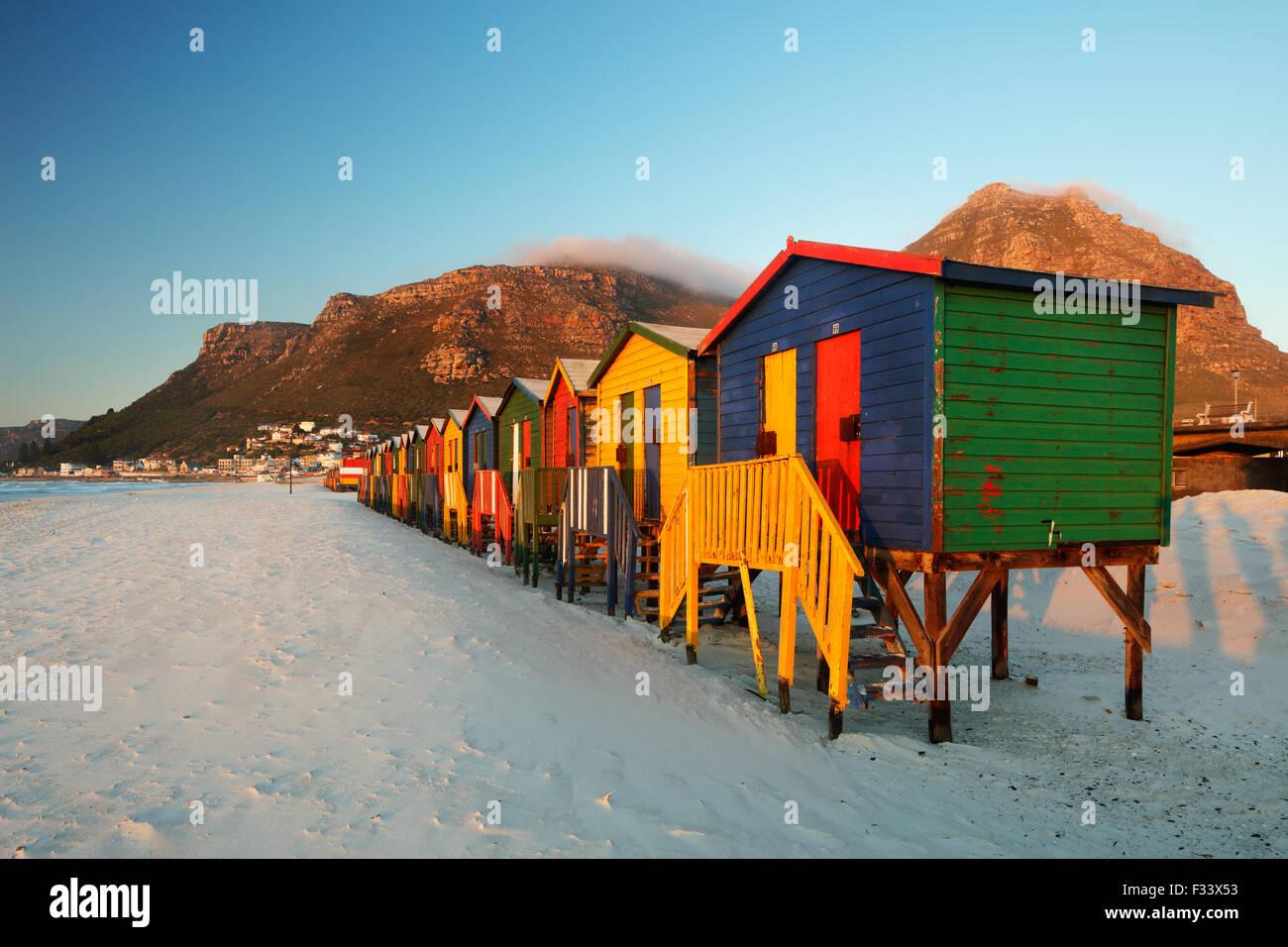 Strandhütten in Muizenberg, Western Cape, Südafrika Stockfoto