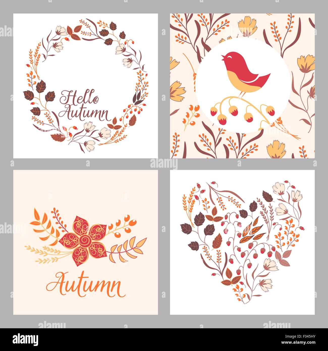 Herbst Hochzeit Grafik Set Mit Kranze Herzen Einladung Vorlage In
