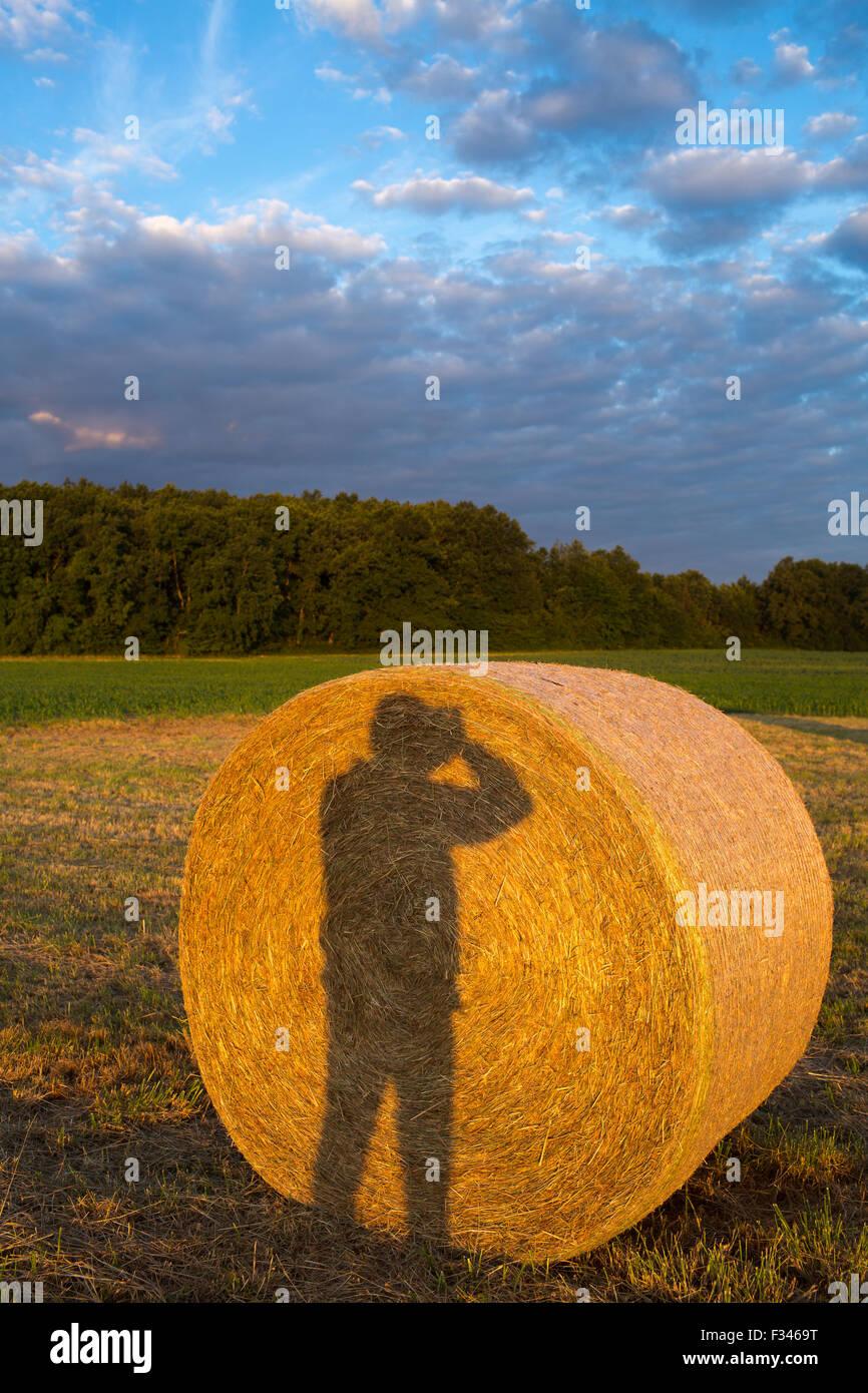 Mein Schatten auf einem Heuballen, Pays de Bergerac, Périgord, Dordogne, Aquitaine, Frankreich Stockbild