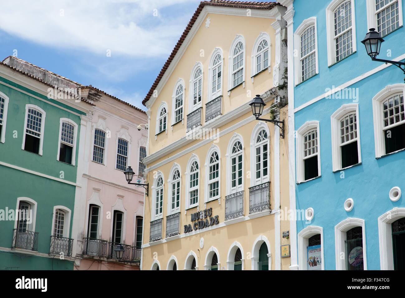 Kolonialarchitektur in der Altstadt, Salvador da Bahia, Brasilien Stockbild