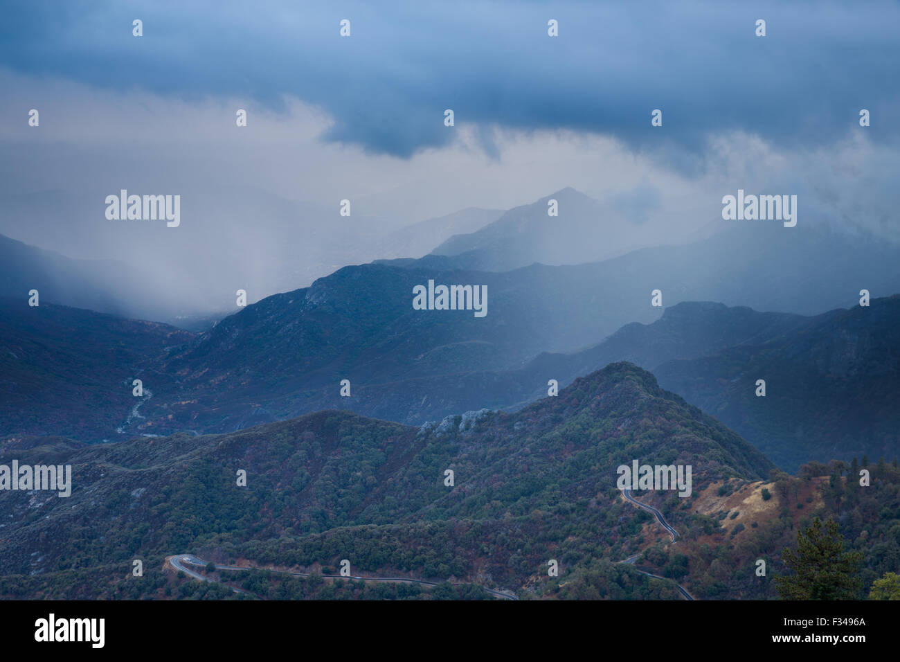die Kaweah Tal, Sequoia Nationalpark, Kalifornien, USA Stockbild
