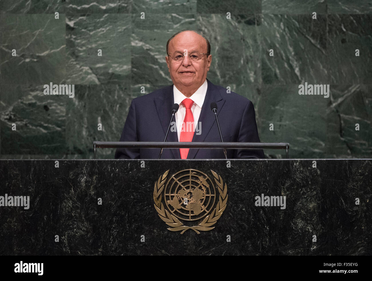 New York, NY, USA 29. Sep, 2015. Jemenitische Präsident Abd-Rabbu Mansour Hadi Adressen der 70. Tagung der Generalversammlung der Vereinten Nationen am Sitz Vereinten Nationen in New York am 29. September 2015. Bildnachweis: UN Photo/Cia Pak/Xinhua/Alamy Live-Nachrichten Stockfoto