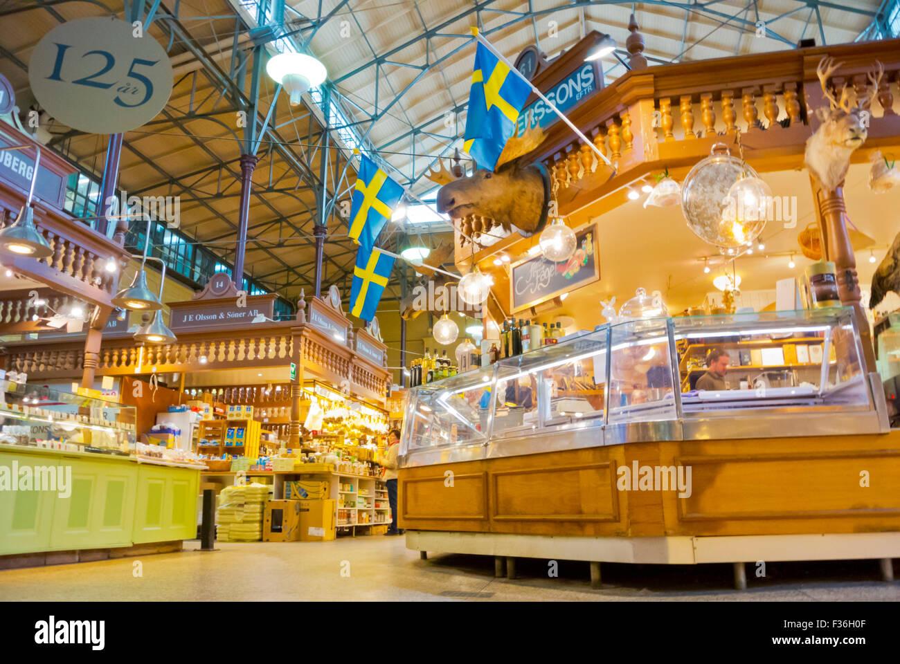Östermalms Saluhall, Markthalle, Stadtteil Östermalm, Stockholm, Schweden Stockbild