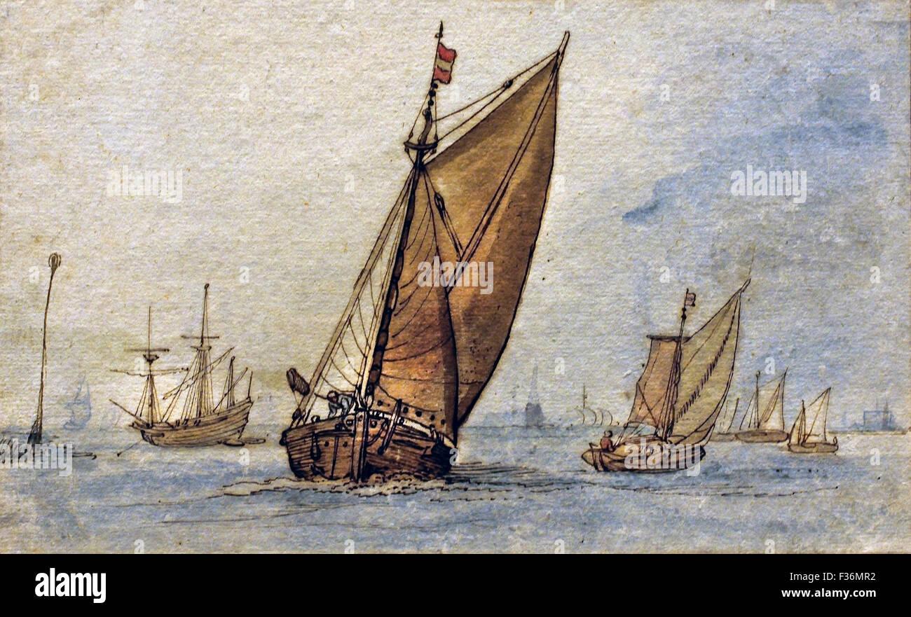 Schiffe in einem ruhigen Meer mit einer Stadt auf den Horizont 1605 Hendrik Avercamp 1612 1679 holländischen Stockbild