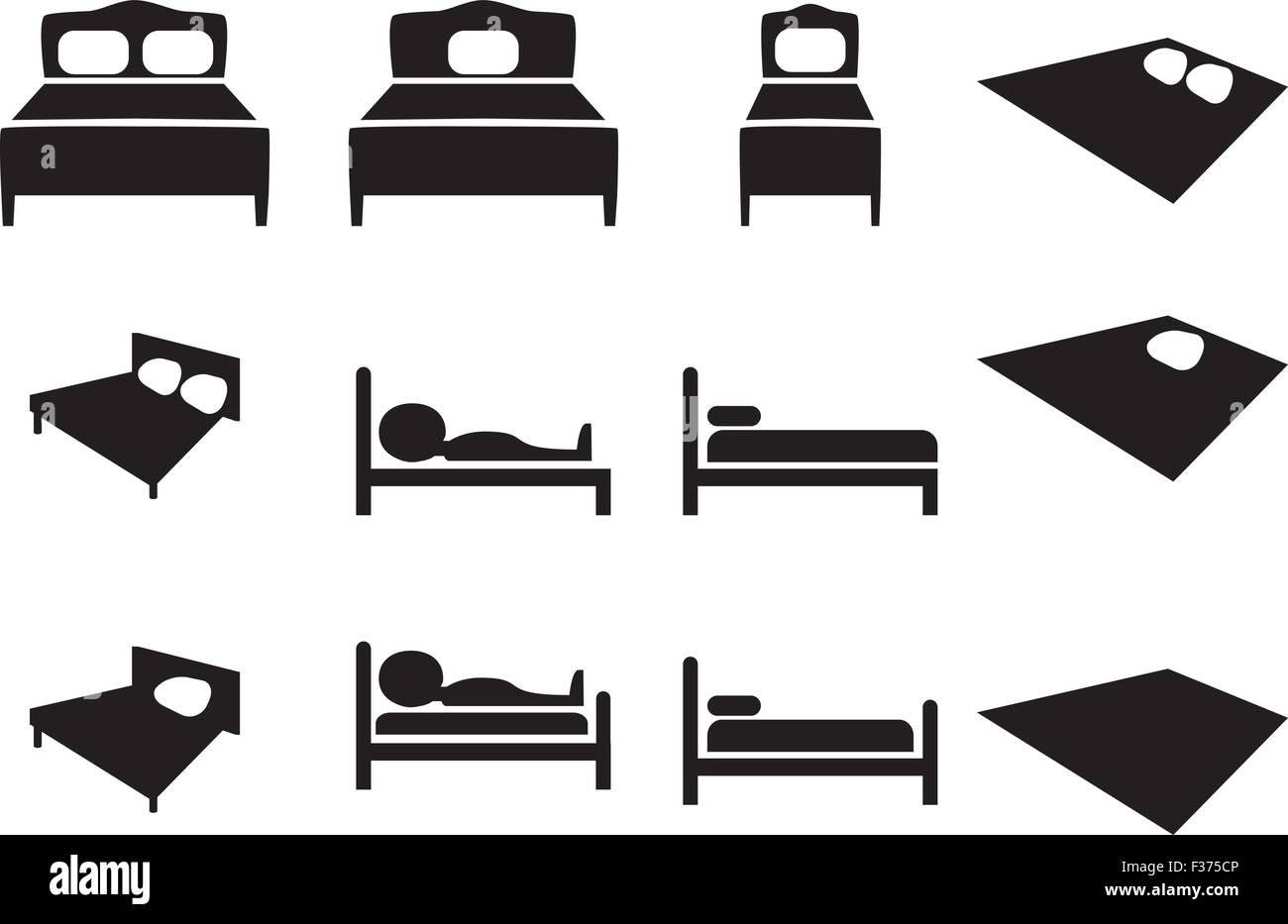 Hotel Icon Bett Zeichen In Luxus Mittlere Und Niedrige Klasse