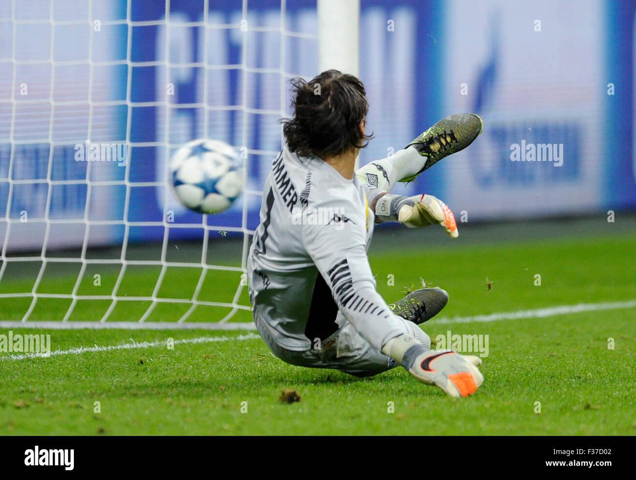 Mönchengladbach, Deutschland. 30. Sep, 2015. UEFA Champions League, 2015/16 Prliminary Runde, 2. Spieltag, Stockbild