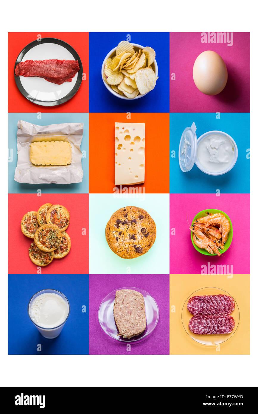 Cholesterin-reiche Lebensmittel. Stockbild
