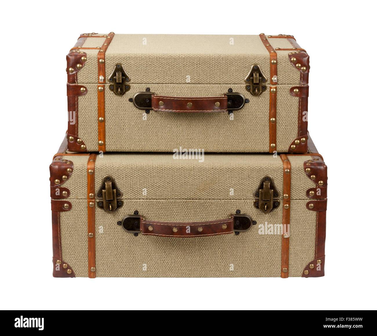 Gestapelte Deco Holz Sackleinen Koffer Stockbild