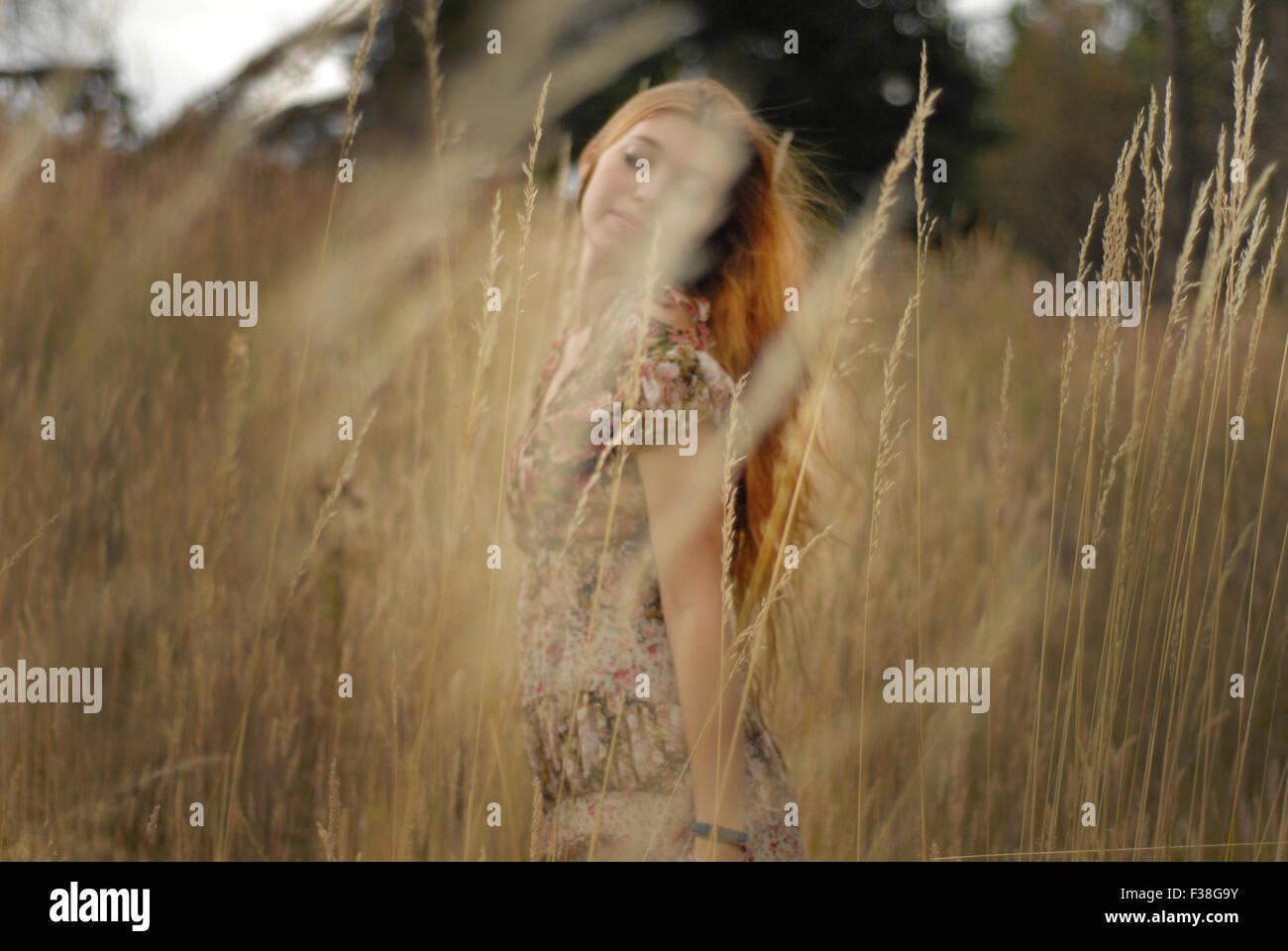 Ingwer-Mädchen zwischen den goldenen Feldern schönes Kleid-soft-air Stockbild