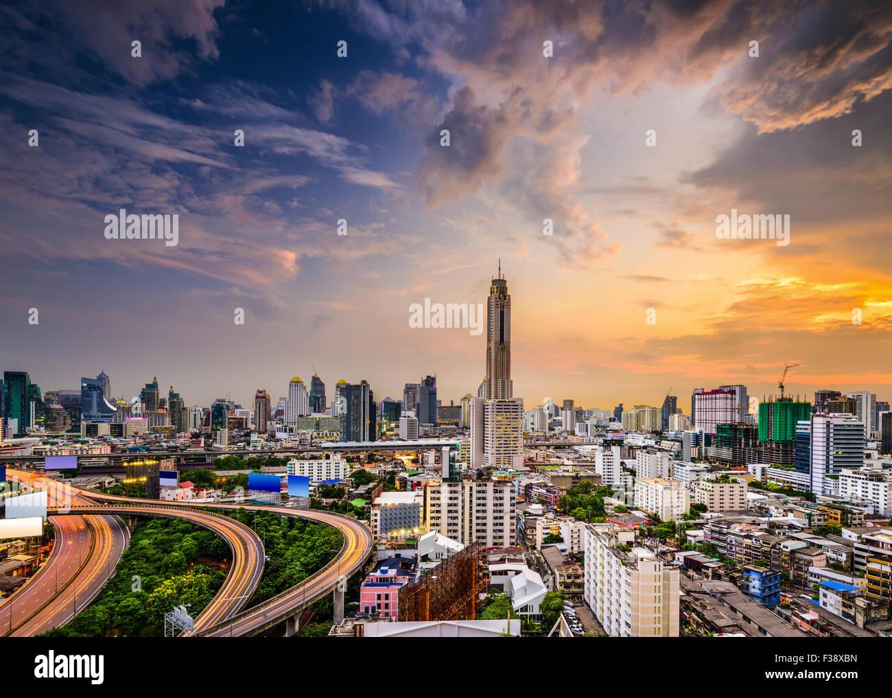 Skyline von Bangkok, Thailand der Bezirk Ratchathewi. Stockbild