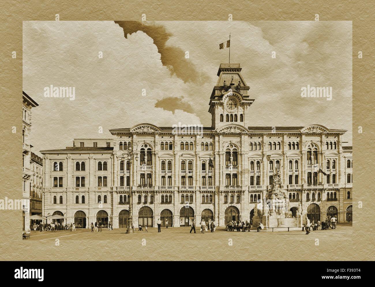 Das Rathaus, der Palazzo del Muniucipio am Piazza Unita d ' Italia, Triest, Friaul-Julisch Venetien, Italien, Stockbild