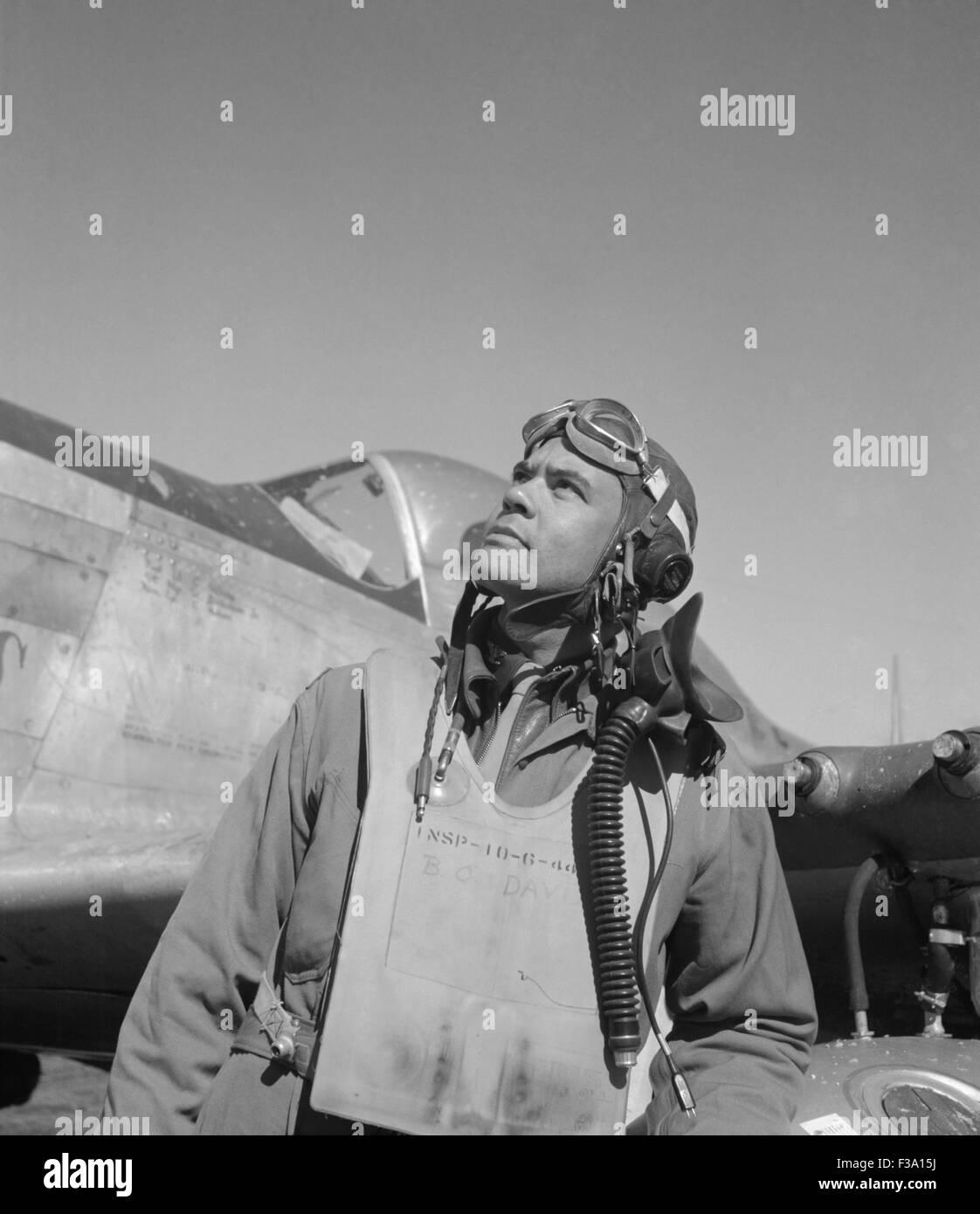 General Benjamin O. Davis, Jr., Kommandant der Tuskegee Flieger im zweiten Weltkrieg und der erste Afroamerikaner Stockbild